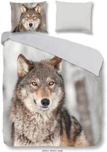 Dekbedovertrek flanel Good Morning Wolf nr2028 multi Maat 155x220+180x80cm
